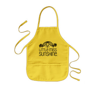 Little Miss Sunshine Peeking Over Name Kids' Apron