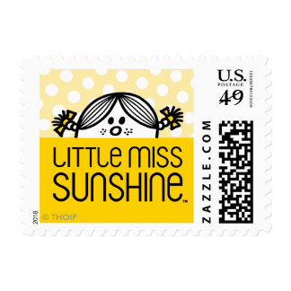 Little Miss Sunshine Peeking Over Name Postage