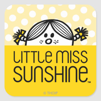 Little Miss Sunshine Peeking Over Name Square Sticker