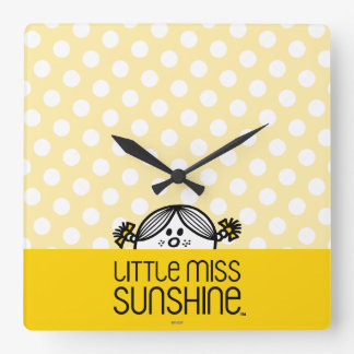 Little Miss Sunshine Peeking Over Name Square Wall Clock