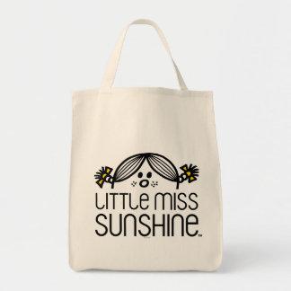 Little Miss Sunshine Peeking Over Name Tote Bag