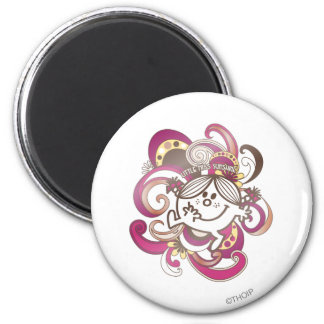 Little Miss Sunshine   Pink Swirls 2 Inch Round Magnet