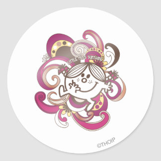 Little Miss Sunshine | Pink Swirls Classic Round Sticker