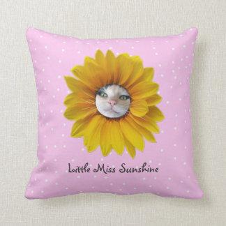 Little Miss Sunshine Smiling Cat Throw Pillow