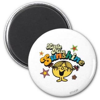 Little Miss Sunshine   Stars & Flowers 2 Inch Round Magnet