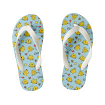 Little Miss Sunshine | Teal Polka Dot Pattern Kid's Flip Flops