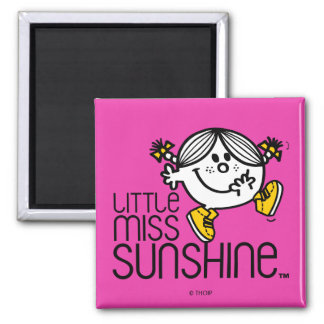 Little Miss Sunshine Walking On Name Graphic 2 Inch Square Magnet