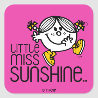 Little Miss Sunshine Walking On Name Graphic Square Sticker