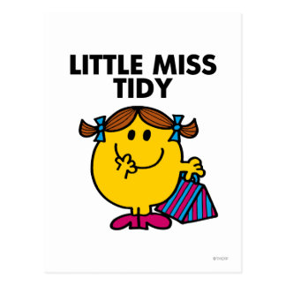Little Miss Tidy | Black Lettering Postcard