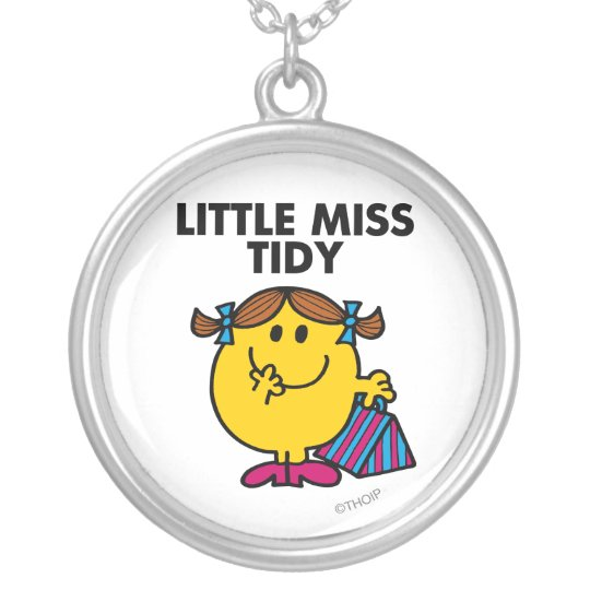 Little Miss Tidy | Black Lettering Silver Plated Necklace