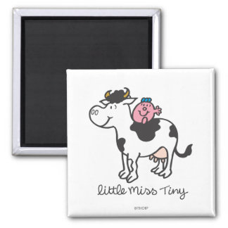Little Miss Tiny | Cow Riding 2 Inch Square Magnet
