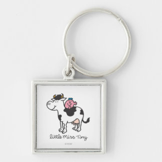 Little Miss Tiny | Cow Riding Silver-Colored Square Keychain