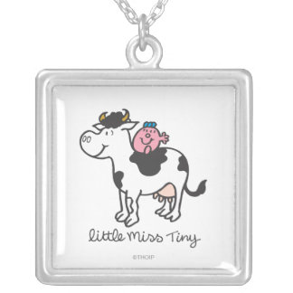 Little Miss Tiny | Cow Riding Square Pendant Necklace