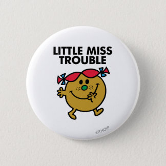 Little Miss Trouble | Black Lettering Button