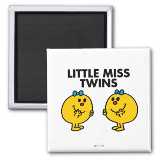 Little Miss Twins | Two Much Fun 2 Inch Square Magnet