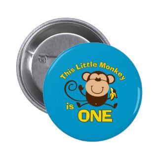 Little Monkey 1st Birthday Boy Button