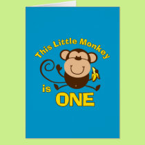 Little Monkey 1st Birthday Boy Card