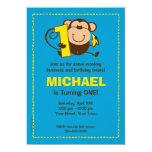 "Little Monkey 1st Birthday Boy Custom Invitations 5"" X 7"" Invitation Card"