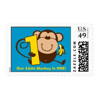 Little Monkey 1st Birthday Boy Custom Postage