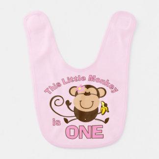 Little Monkey 1st Birthday Girl Baby Bib