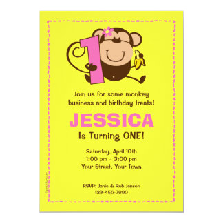 Little Monkey 1st Birthday Girl Custom Invitations