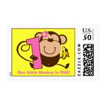 Little Monkey 1st Birthday Girl Custom Postage