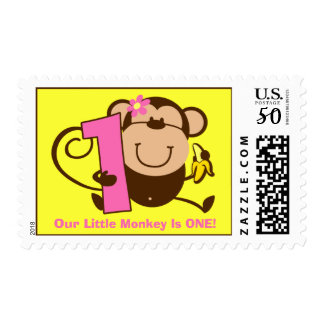 Little Monkey 1st Birthday Girl Custom Postage