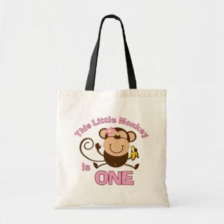 Little Monkey 1st Birthday Girl Tote Bag