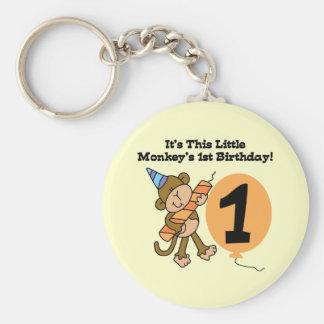 Little Monkey 1st Birthday Tshirts and Gifts Basic Round Button Keychain