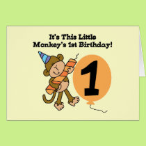 Little Monkey 1st Birthday Tshirts and Gifts Card