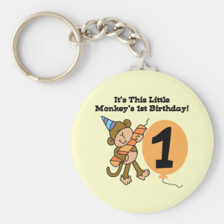 Little Monkey 1st Birthday Tshirts and Gifts Keychain