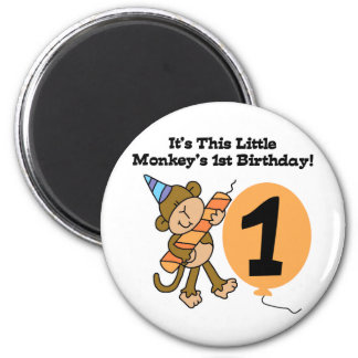 Little Monkey 1st Birthday Tshirts and Gifts Magnet