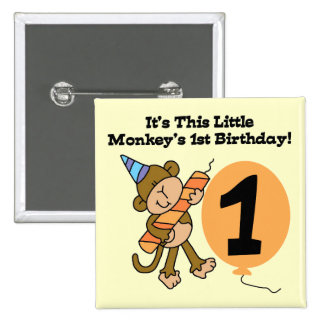 Little Monkey 1st Birthday Tshirts and Gifts Pinback Button