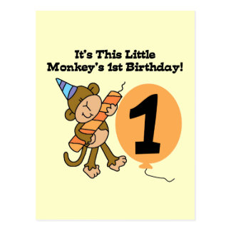 Little Monkey 1st Birthday Tshirts and Gifts Postcard