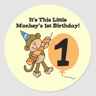 Little Monkey 1st Birthday Tshirts and Gifts Classic Round Sticker