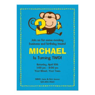 Little Monkey 2nd Birthday Boy Custom Invitations