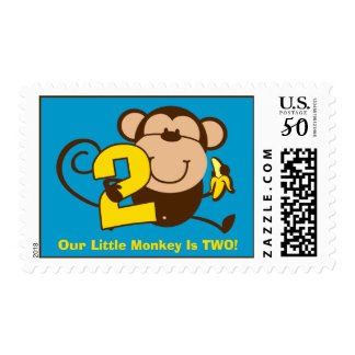 Little Monkey 2nd Birthday Boy Custom Postage