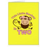 Little Monkey 2nd Birthday Girl Card