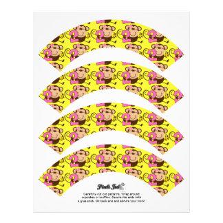 Little Monkey 2nd Birthday Girl Cupcake Wrappers Letterhead