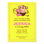 Little Monkey 2nd Birthday Girl Custom Invitations