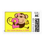 Little Monkey 2nd Birthday Girl Custom Postage