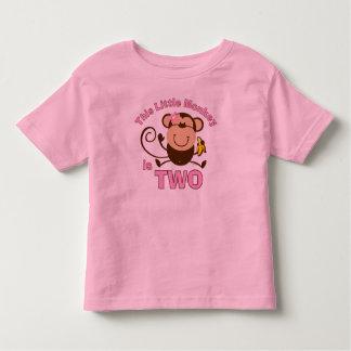 Little Monkey 2nd Birthday Girl Toddler T-shirt