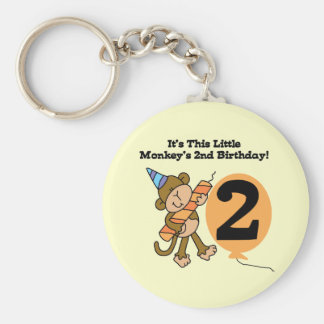 Little Monkey 2nd Birthday Tshirts and Gifts Keychain