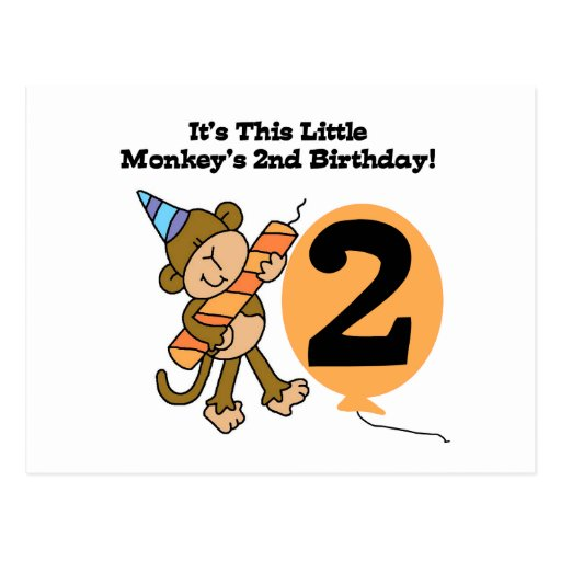Little Monkey 2nd Birthday Tshirts and Gifts Postcard