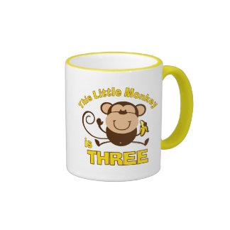 Little Monkey 3rd Birthday Boy Coffee Mugs