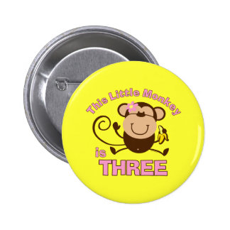 Little Monkey 3rd Birthday Girl Pinback Buttons