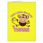 Little Monkey 3rd Birthday Girl Greeting Card