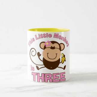 Little Monkey 3rd Birthday Girl Mugs