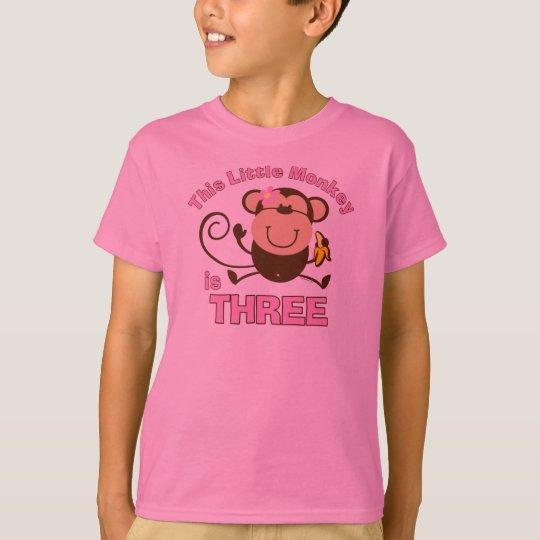 Little Monkey 3rd Birthday Girl T-Shirt