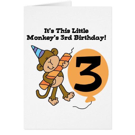 monkey 3rd birthday tshirts and gifts card zazzle